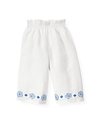 Pure White Embroidered Wide-Leg Linen Pant at JanieandJack