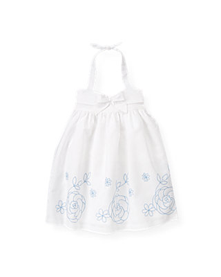 Pure White Floral Embroidered Linen Blend Dress at JanieandJack