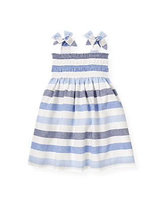 Washed Sea Blue Stripe Stripe Linen Blend Dress at JanieandJack