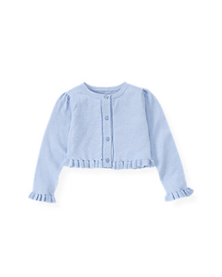 Sea Blue Ruffle Crop Cardigan at JanieandJack