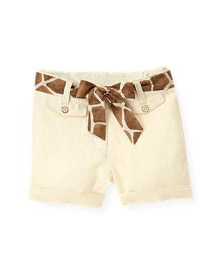 Cream Belted Linen Short at JanieandJack