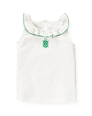Pure White Turtle Ruffle Top at JanieandJack