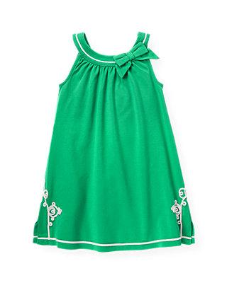 Emerald Green Embroidered Knit Dress at JanieandJack