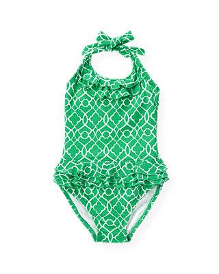 Emerald Green Tile Print One-Piece Swimsuit at JanieandJack