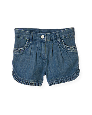 Light Stone Wash Denim Ruffle Short at JanieandJack