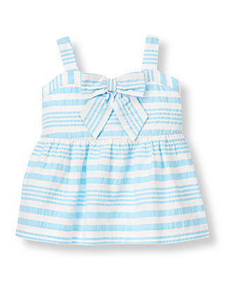 Water Blue Stripe Seersucker Stripe Bow Top at JanieandJack
