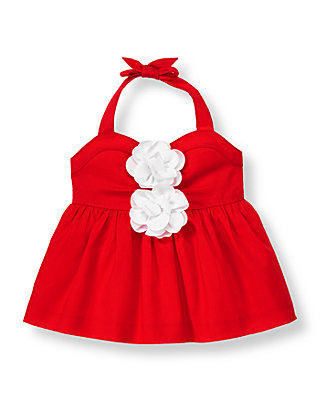 Vivid Red Flower Corsage Halter Top at JanieandJack