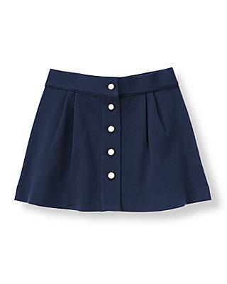 Classic Navy Pleated Ponte Skirt at JanieandJack