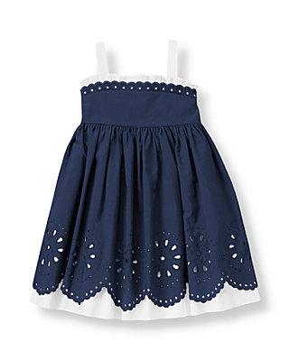 Classic Navy Scalloped Eyelet Dress at JanieandJack