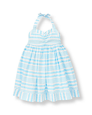 Water Blue Stripe Seersucker Stripe Halter Dress at JanieandJack