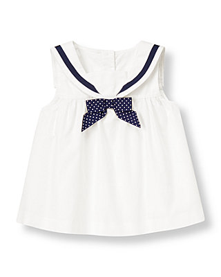 Pure White Bow Sailor Top at JanieandJack