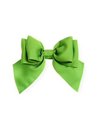 Palm Green Grosgrain Ribbon Bow Barrette at JanieandJack