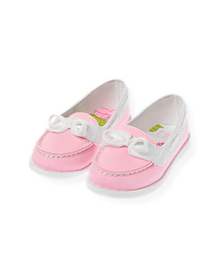 Flamingo Pink Canvas Boat Shoe at JanieandJack