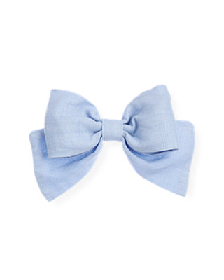 Sea Blue Linen Bow Barrette at JanieandJack