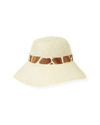Double Cream Giraffe Print Bow Straw Sunhat at JanieandJack