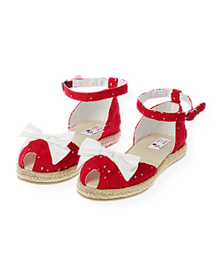 American Red Bow Eyelet Espadrille Sandal at JanieandJack