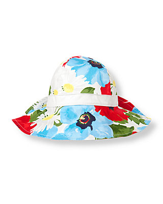 Vivid Red Floral Floral Bow Sunhat at JanieandJack