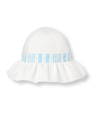 Pure White Seersucker Stripe Sunhat at JanieandJack