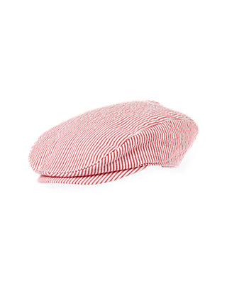 Boys Beachfront Red Stripe Stripe Seersucker Cap at JanieandJack