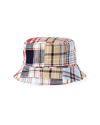 Boys Beachfront Blue Patchwork Plaid Patchwork Bucket Hat at JanieandJack