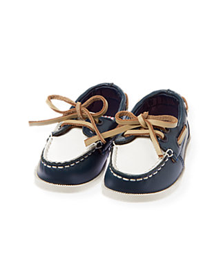 Navy Leather Boat Shoe at JanieandJack