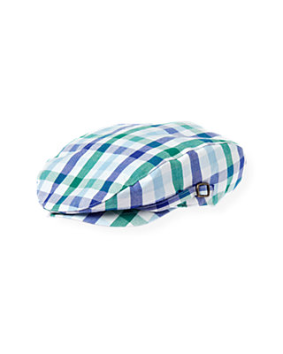 Boys Cobalt Blue Check Checked Cap at JanieandJack