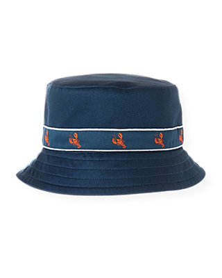 Boys Washed Navy Lobster Bucket Hat at JanieandJack