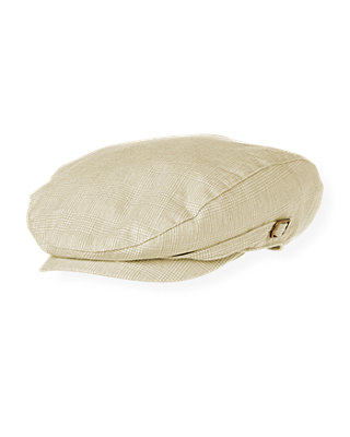 Boys Khaki Glen Plaid Linen Blend Cap at JanieandJack