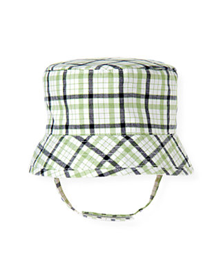 Baby Boy Grass Green Check Plaid Bucket Hat at JanieandJack