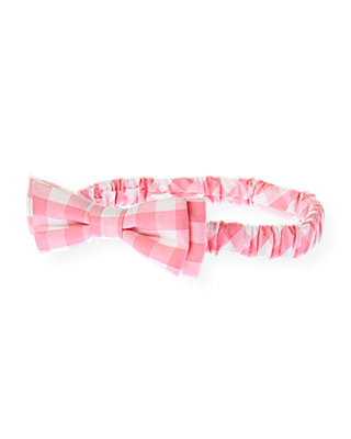 Paradise Pink Check Gingham Bow Headband at JanieandJack