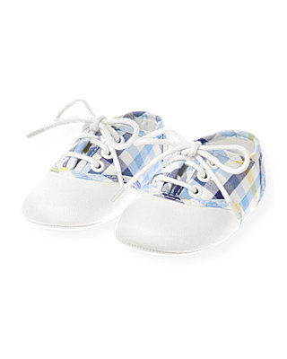 Baby Boy Vista Blue Check Gingham Crib Shoe at JanieandJack