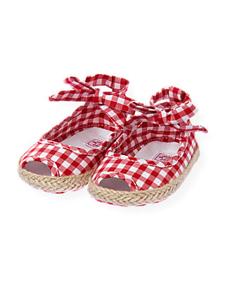Baby Girl American Red Check Gingham Crib Espadrille at JanieandJack