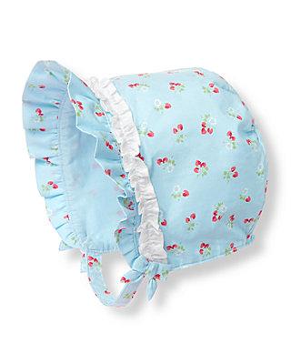 Baby Girl Strawberry Floral Strawberry Ruffle Bonnet at JanieandJack