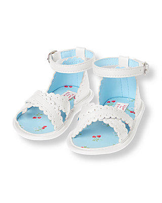 Baby Girl Pure White Eyelet Crib Sandal at JanieandJack