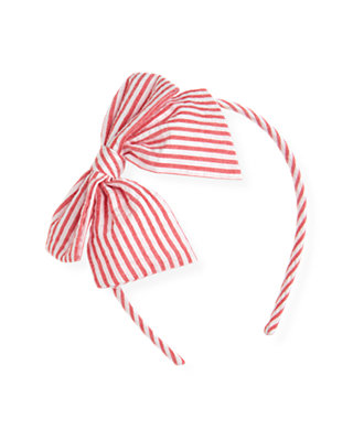 Cherry Red Stripe Stripe Seersucker Bow Headband at JanieandJack