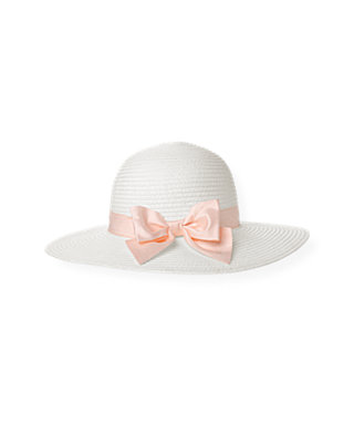 Jet Ivory Silk Bow Straw Sunhat at JanieandJack