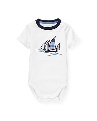 Pure White Sailboat Ringer Bodysuit at JanieandJack