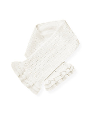 Jet Ivory Pointelle Sweater Scarf at JanieandJack