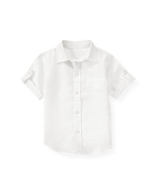 White Button Tab Linen Shirt at JanieandJack