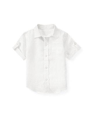 White Button Tab Linen Shirt at JanieandJack