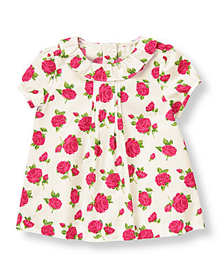 Fuchsia Rose Floral Rose Floral Collared Top at JanieandJack