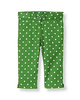 Kelly Green Dot Dot Crop Pant at JanieandJack
