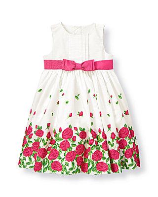 Fuchsia Rose Floral Rose Floral Pintucked Dress at JanieandJack