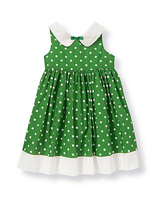 Kelly Green Dot Collared Dot Dress at JanieandJack
