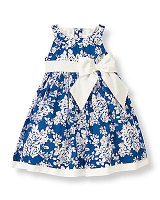 Edwardian Blue Floral Floral Bow Dress at JanieandJack