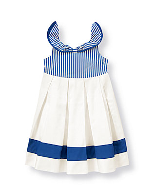 Edwardian Blue Stripe Dobby Stripe Collar Dress at JanieandJack