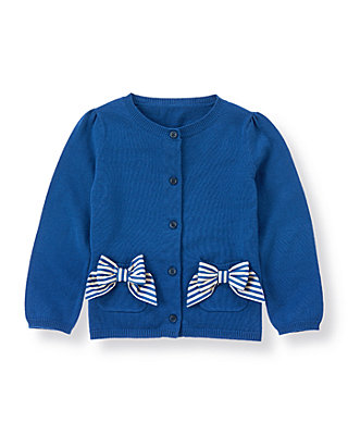 Edwardian Blue Dobby Stripe Bow Cardigan at JanieandJack