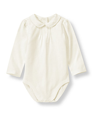 Jet Ivory Peter-Pan Collar Long Sleeve Bodysuit at JanieandJack