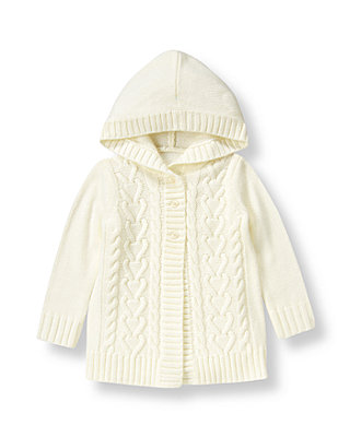 Jet Ivory Hooded Sweater Coat at JanieandJack