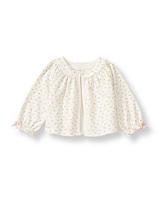 Baby Girl Barely Pink Rosette Floral Rosette Floral Knit Cardigan at JanieandJack